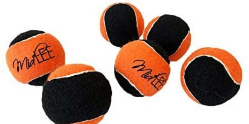 Midlee Orange/Black Dog Halloween Tennis Balls